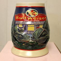 BUDWEISER Louie and Frank Stein 1998 Bud Beer Stein  NEW IN BOX w COA