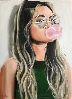 """Saatchi Art Artist Maria Folger; Portrait Painting, """"Bubble gum"""" #art"""