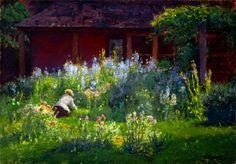 'Selma in the Garden', by T C Steele.  (1847-1926)