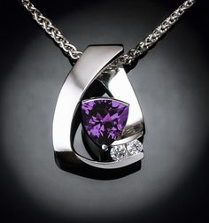 Alexandrite and White Sapphire Necklace - Argentium Silver - 3452 - Argentium Chain Included  Modern and contemporary, this pendant makes a