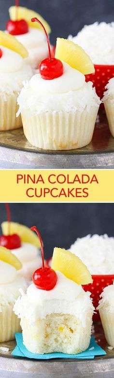 Pina Colada Cupcakes - moist, fluffy pineapple cupcakes with coconut frosting! So tasty and perfect for summer! Pina Colada Cupcakes - moist, fluffy pineapple cupcakes with coconut frosting! So tasty and perfect for summer! Pina Colada Cupcakes, Pineapple Cupcakes, Vodka Cupcakes, Alcoholic Cupcakes, Cocktail Cupcakes, Pineapple Rum, Pineapple Recipes, No Bake Desserts, Just Desserts