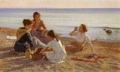 On the Beach 1904, Elin Kleopatra Danielson-Gambogi (Finnish painter)