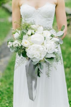 White and green wedding bouquet with gray ribbon Photo @EmilyWrenPhotography http://www.weddingchicks.com/blog/natural-white-grey-and-green-wedding-l-13462-l-5.html