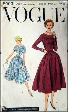 Vintage 1956 Devine Afternoon Dress Vogue by FarfallaDesignStudio Vogue 5003