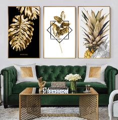 Golden Monstera Leaf Nordic Wall Art Tropical Botany Pineapple Luxury Fine Art Canvas Prints Salon Art For Living Room Bedroom Modern Home Interior Decor - Luxus-deko