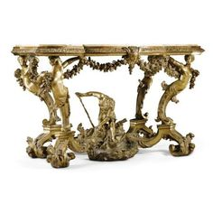 An Italian carved giltwood console table, Venetian. circa 1730. photo Sotheby's