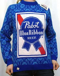 Nothing says you're high society like a PBR sweater Ski Sweater, Ugly Sweater Party, Ugly Christmas Sweater, Knit Sweaters, Holiday Sweater, Sweater Weather, Pabst Blue Ribbon, Hipster Fashion, Weird Fashion