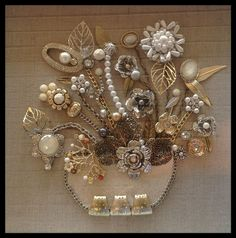 Vintage Jewelry Repurposed Neutral bouquets are always the best sellers. Gold and silver mixed jewelry.rhinestones and pearls. By Brenda Henning Costume Jewelry Crafts, Vintage Jewelry Crafts, Vintage Jewellery, Jewelry Frames, Jewelry Tree, Gold Jewelry, Cheap Jewelry, Jewelery, Jewelry Bracelets