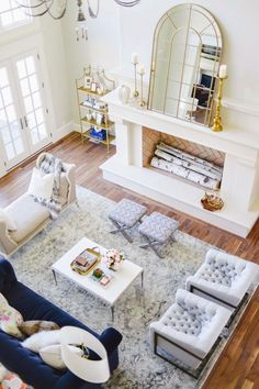 Gorgeous living room with blue and gold accents it is classic elegance.