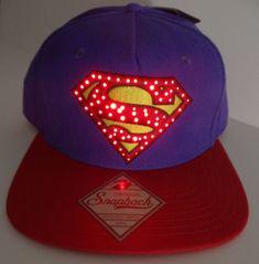 buy popular 2b2d3 f42cb Superman Fiber Optic Lights Logo DC Comics Snap Back Hat Nwt  DCComics   BaseballCap Optic