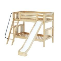 HAPPY NS : Medium High Bunk w/ Angle Ladder & Slide : Twin : Natural : Slat