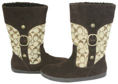 Coach Meyer Signature C Shearling Boot (Khaki/Chestnut, Bootie Boots, Shoe Boots, Ankle Boots, Coach Boots, Hey Gorgeous, Beautiful, Walk In My Shoes, Shearling Boots, Mid Calf Boots