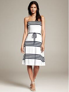 Striped Knit Strapless Dress - pre- or post-wedding event dress