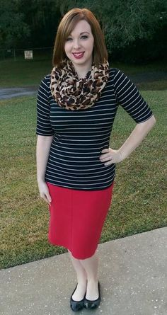 Stripes & Leopard. Red skirt outfit. Modern Modesty.