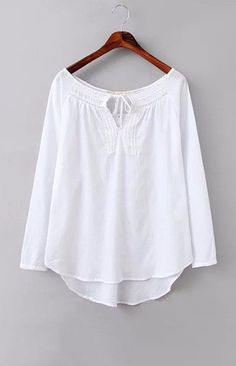 Three Quarter Sleeve White Blouse