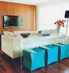 Sofá aparador bancada carvalho ebanizado vidro home theater