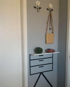 Tape Wall Art, Tape Art, Home Staging, Shoe Store Design, Teachers Room, Bedroom Decor, Wall Decor, Interior Decorating, Interior Design