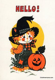 Halloween greeting cards made especially for children became popular in the - and many of them were far more sweet than scary. Take a look back at these Vintage Halloween cards for kids from the and Halloween Scarecrow, Halloween Party Costumes, Cute Halloween, Halloween Ideas, Halloween Stuff, Halloween Sewing, Halloween Prints, Halloween Halloween, Vintage Halloween Images