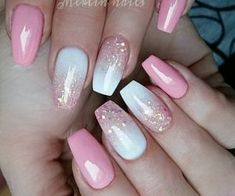 Blue Nail, Blue Ombre Nails, Pink Ombre Nails, Glitter Nails, Ombre Color, Cute Nail Designs, Acrylic Nail Designs, Acrylic Nails, Coffin Nails