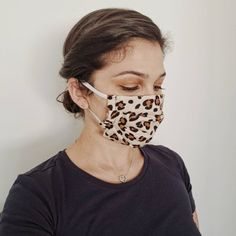Leopard Pleated Cotton Fashion Face Mask - Mask with Filter and Pocket - Nose Wire - Full Cover - Color Elastic - Animal Print - Cheetah Fashion Face Mask, Sell On Etsy, Ear Loop, Face Masks, Filter, Etsy Shop, Check, Cotton, Stuff To Buy