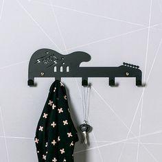 Rock Star Guitar Coat Hanger / Kids Room Ideas / Birthday Gifts For Kids / Boys room / Music Room Decor by Einadesign on Etsy https://www.etsy.com/listing/203574507/rock-star-guitar-coat-hanger-kids-room