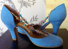 Bohoriental II. - Handmade by Marsha Hall - A stunning set of Blue - sued Oriental and Bohemian inspired shoes - Jewellery has been adapted to create the unique decoration -   - Perfect bespoke shoes for Wedding's, Special occasions, and everyday -  For more information visit Marsha Hall's website - http://www.marshahall.com/