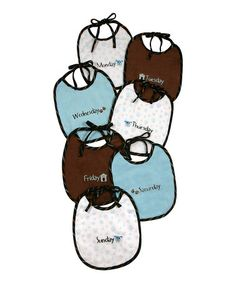Look what I found on #zulily! Blue & Brown Days of the Week Puppy Bib Set by Stephan Baby #zulilyfinds