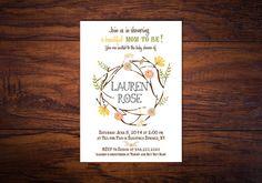 Bohemian Summer Baby Shower Invitation // Summer Baby Shower, Spring Baby Shower // Floral Wreath