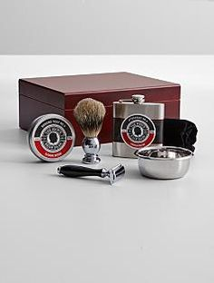 Dad will love this Father's Day gift that Includes badger-hair bristle brush, razor, pack of five blades, shaving bowl, shaving soap and aftershave. A double bonus as it arrives in a humidor so he can stow his favorite cigars after grooming. Shaving Soap, Shaving Brush, Mens Soap, Personalized Gifts For Dad, Soap Shop, Stud Muffin, Men's Grooming, Top Gifts, Fathers Day Gifts