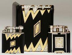 Art Déco - Briquet 'Pendulette' et Etui à Cigarettes - Or, Argent, Laque Noire et Coquilles d'Oeufs - Dunhill - Années 20