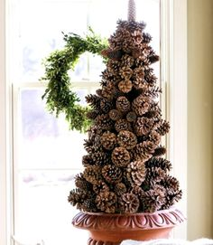 Pinecone Tree With A cone-Shape Foam Base for unique Christmas Tree