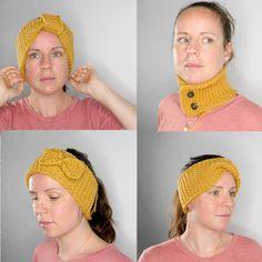 4 strikkeplagg i 1 ! Med utgangspunkt i samme oppskrift, kan du lage alle disse. Så enkelt og kjapt at du strikker det ferdig på en kveld. 3 pannebånd og én hals. Crochet Hats, Fashion, Knitting Hats, Moda, La Mode, Fasion, Fashion Models, Trendy Fashion