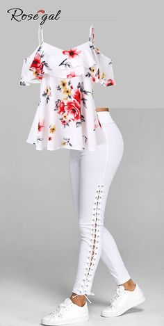 Free shipment worldwide, up to off, Rosegal off the shoulder floral print tops and Elastic Waist Lace Up Leggings for women, cozy and comfortable Teen Fashion Outfits, Mode Outfits, Look Fashion, Casual Outfits, Fashion Dresses, Womens Fashion, Trendy Fashion, Curvy Fashion, Fashion Ideas