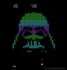 Pop Culture Design by Chow Hon Lam, via Behance Dark Vader, Image Blog, Star Wars Images, Space Invaders, The Force Is Strong, Star Wars Art, Graphic Design Illustration, Pixel Art, Cool T Shirts