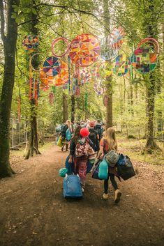 Electric Picnic's colorful charm on display as campers waltz through the woods. (Photo by: Ste Murray) Into The Woods Festival, Tiny House Village, Light Art Installation, Trippy Wallpaper, International Festival, Art Festival, Diy And Crafts, Picnic, Dream Wedding