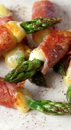 asparagus, ham, and cheese bundles...but I'd change the ham to smoked salmon
