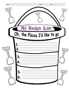 """Bucket list was designed to inspire the kids to visit places to go and visit based on beloved Dr. Seuss's book, """"Oh the places you'll go."""" This activity can be used all year round, but it's especially appropriate in March since it's Dr. Seuss's birthday on March 2."""