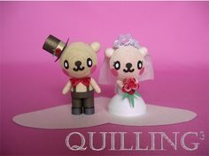 Quilled 3D Bride & Groom Bears, front