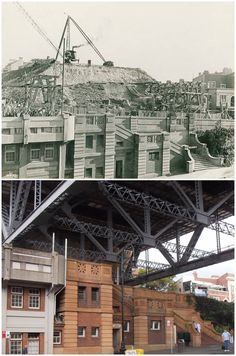 Resumed land making way for the Harbour Bridge in George St, The Rocks. By Kevin Sundgren] Harbor Bridge, Sydney Harbour Bridge, The Rocks Sydney, Then And Now Photos, As Time Goes By, Cheap Hotels, Historical Architecture, Sydney Australia, Old Photos