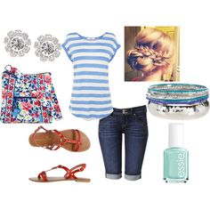 Summer/Spring Casual Outfit. Blue. Vera Bradley. Updo