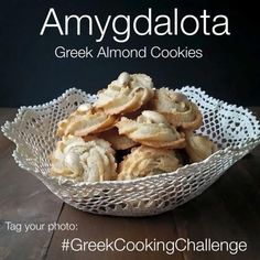Amygthalota are Greek Almond Cookies which are traditionally baked for special events such as the birth of a new baby, christenings, weddings and name days. Greek Sweets, Greek Desserts, Greek Recipes, Italian Recipes, Greek Cookies, Almond Cookies, Italian Cookies, Cake Cookies, Paleo Dessert