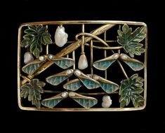 Choker plaque, Gold, turquoise and green plique-à-jour enamels, and baroque pearls.  Circa 1900