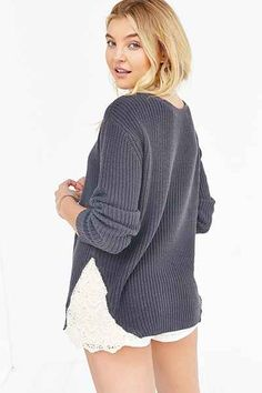 Kimchi Blue Skyler Lace Inset Sweater - Urban Outfitters