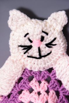 Cute Crochet Baby Security Afghan Blanket with Kitty Critter in Pink & Purple by PerfectKnotCrochet, $27.00