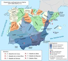 The expansion of the Carthaginians on the Iberian peninsula (237 - 206 BCE).