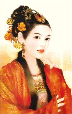 Chinese Beauty by Der Jen (Dezhen) Art Chinois, Art Asiatique, Chinese Art, Chinese Painting, Flowers In Hair, Asian Art, Japanese Art, Female Art, Asian Beauty