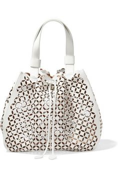 ALAÏA Petal Laser-Cut Leather Bucket Bag. #alaïa #bags #leather #hand bags #bucket