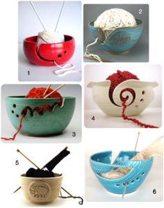 Yarn Bowls.  Pretty yet functional.  Would be fun to make out of polymer clay!