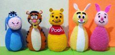 Crochet Pooh and friend, Piglet, Eeyore, Tigger, Rabbit Egg Warmer Amigurumi- Finish Doll. via Etsy. Crochet Baby Toys, Crochet Animals, Crochet Dolls, Eeyore, Tigger, Crochet Disney, Diy Baby Gifts, Pooh Bear, Disney Winnie The Pooh