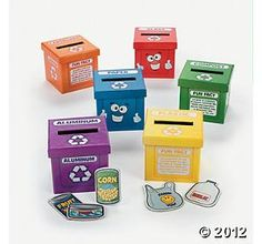 Learn To Recycle Activity Boxes. What a great way to learn about recycling! Learn to Recycle Activity Boxes use 6 boxes labeled with different types of recyclables, and students sort the 48 items to be recycled Preschool Classroom, In Kindergarten, Preschool Activities, Earth Day Projects, Earth Day Crafts, Earth Day Activities, Spring Activities, Activity Box, Teaching Supplies